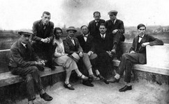 The Bauhaus masters on the roof of the building.