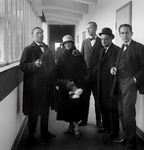 Inauguration of the new Bauhaus. Left to Right: Wassily Kandinsky, Nina Kandinsky, Georg Muche, Paul Klee, Walter Gropius, Dessau, -by Walter Obschonka, 1926