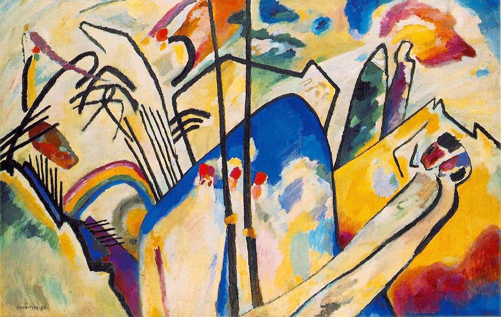Painter Wassily Kandinsky. Painting. Composition IV. 1911 year