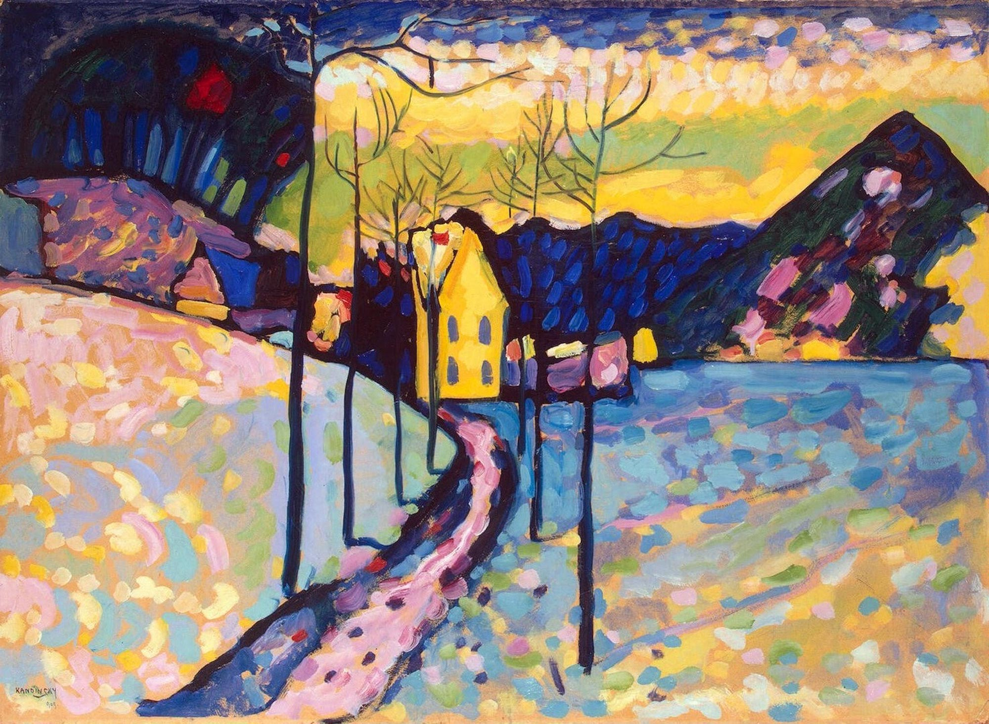 Painter Wassily Kandinsky. Painting. Winter Landscape. 1909 year