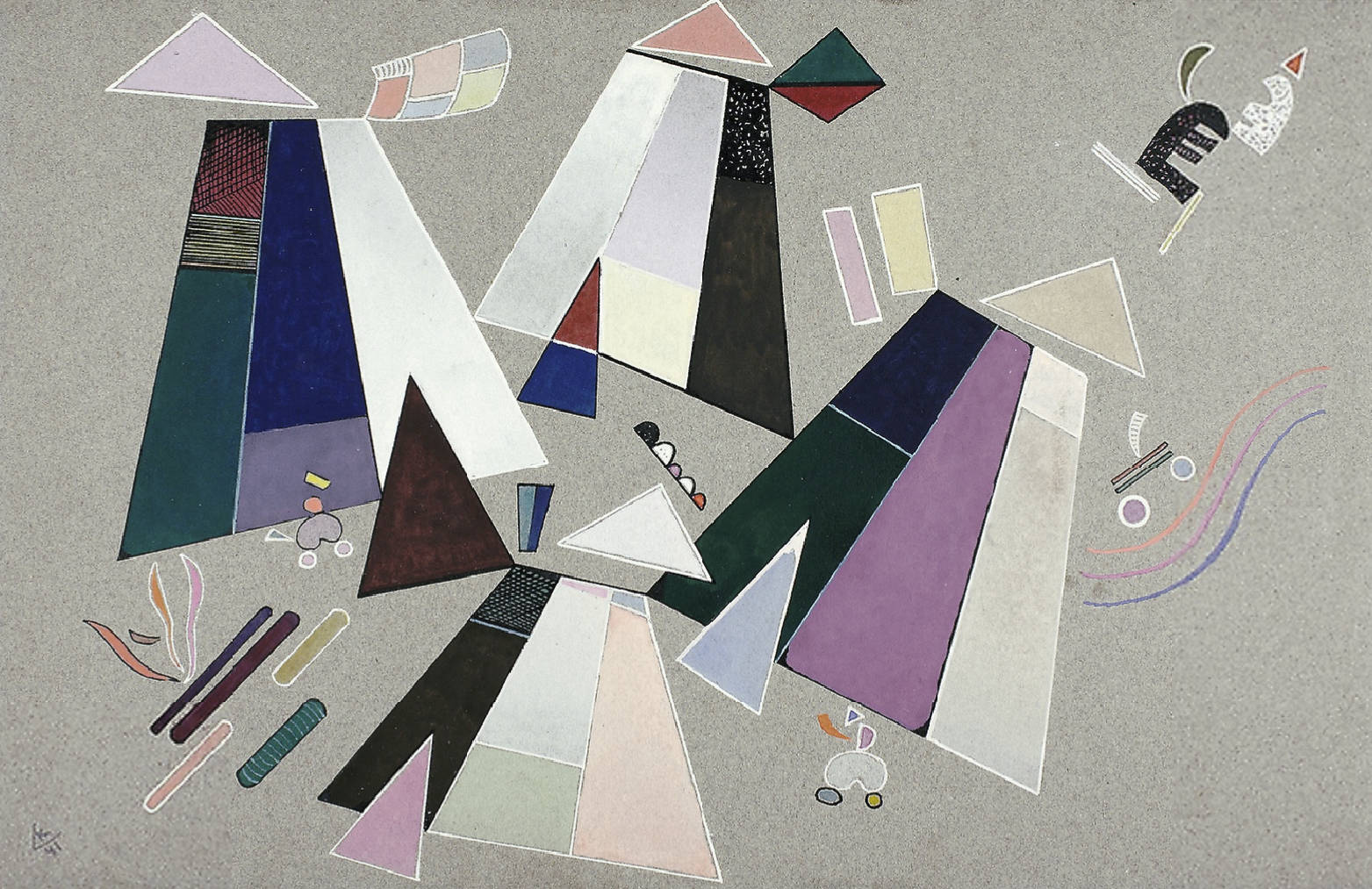Untitled (Composition with Grey Background) (1941)  by Wassily Kandinsky