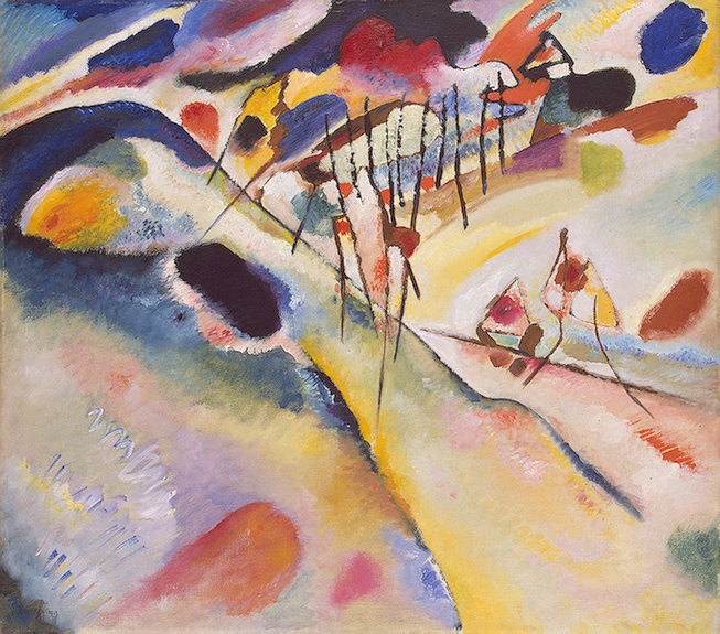Painter Wassily Kandinsky. Painting. Landscape. 1913 year