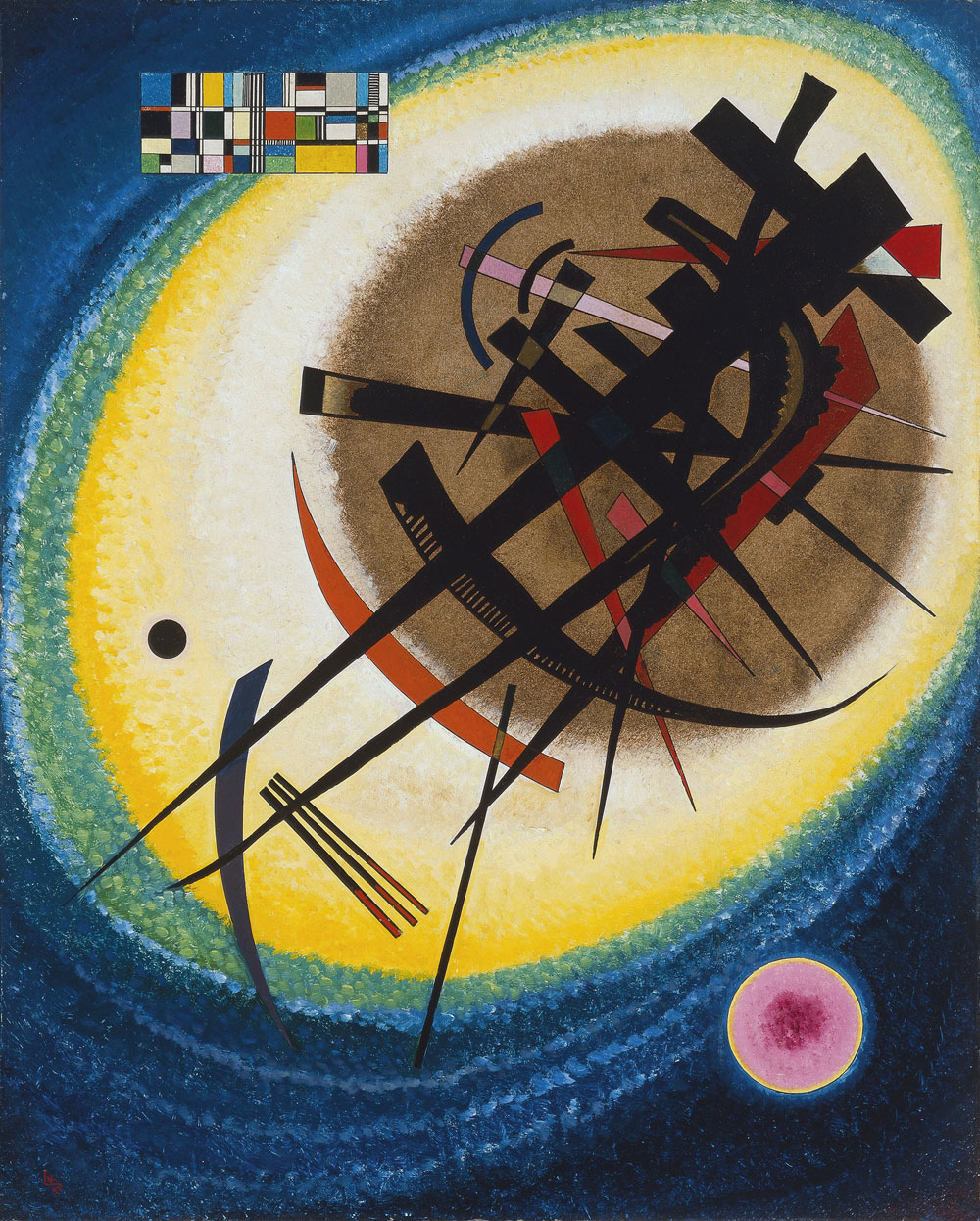 Painter Wassily Kandinsky. Painting. In the Bright Oval. 1925 year