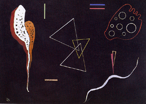 Painter Wassily Kandinsky. Painting. Three triangles. 1938 year