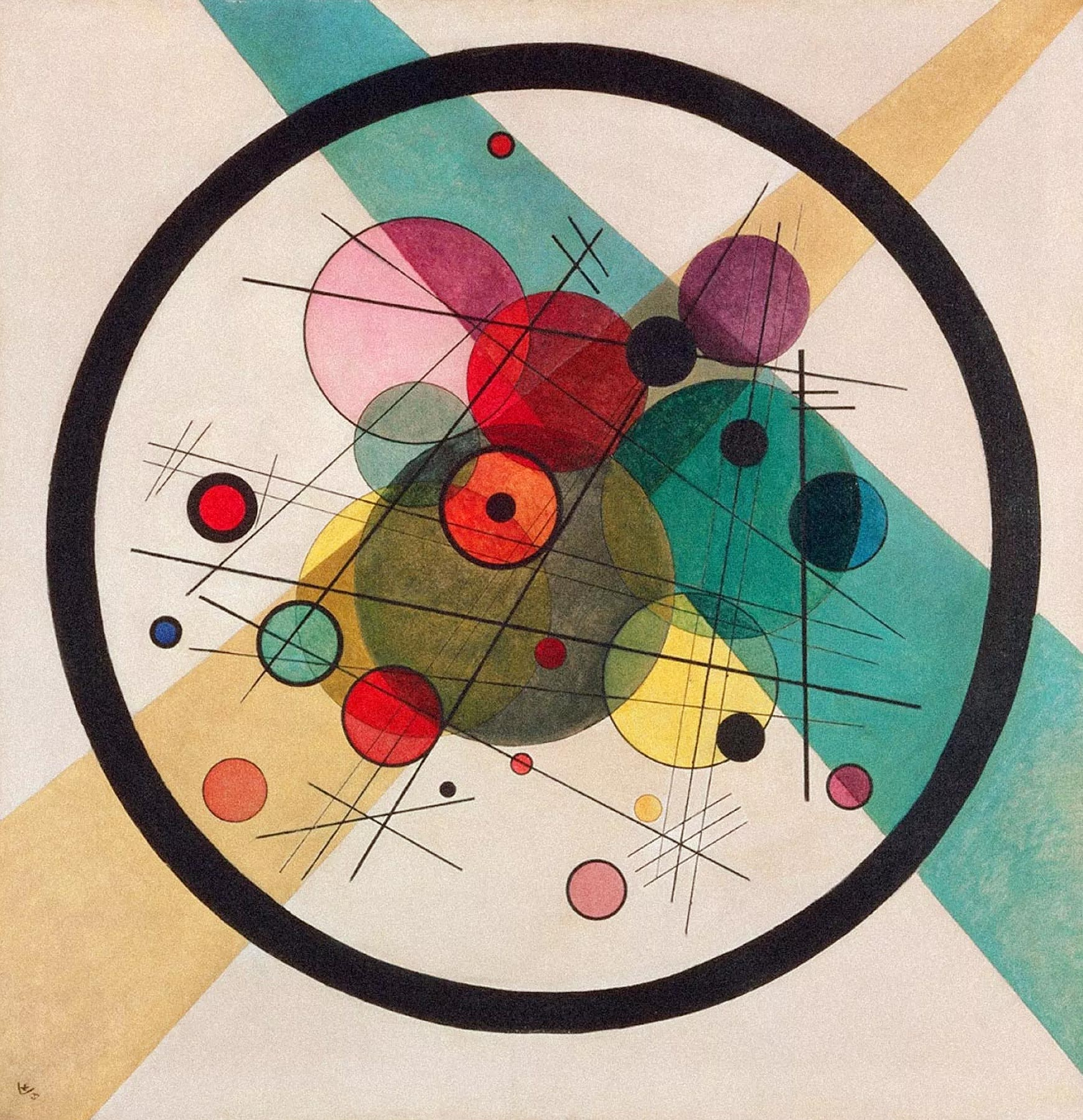 Painter Wassily Kandinsky. Painting. Circles in a Circle. 1923 year