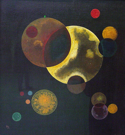 Painter Wassily Kandinsky. Painting. Heavy Circles. 1927 year