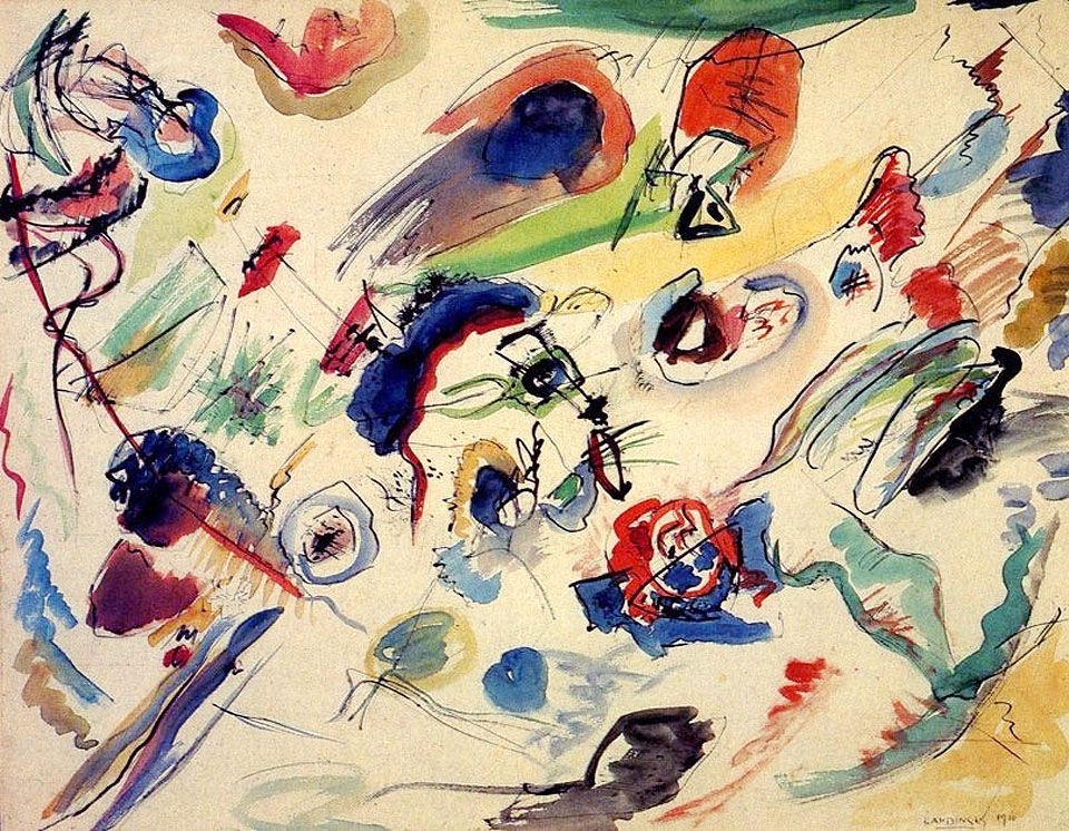 Untitled (First Abstract Watercolor) (1910)  by Wassily Kandinsky