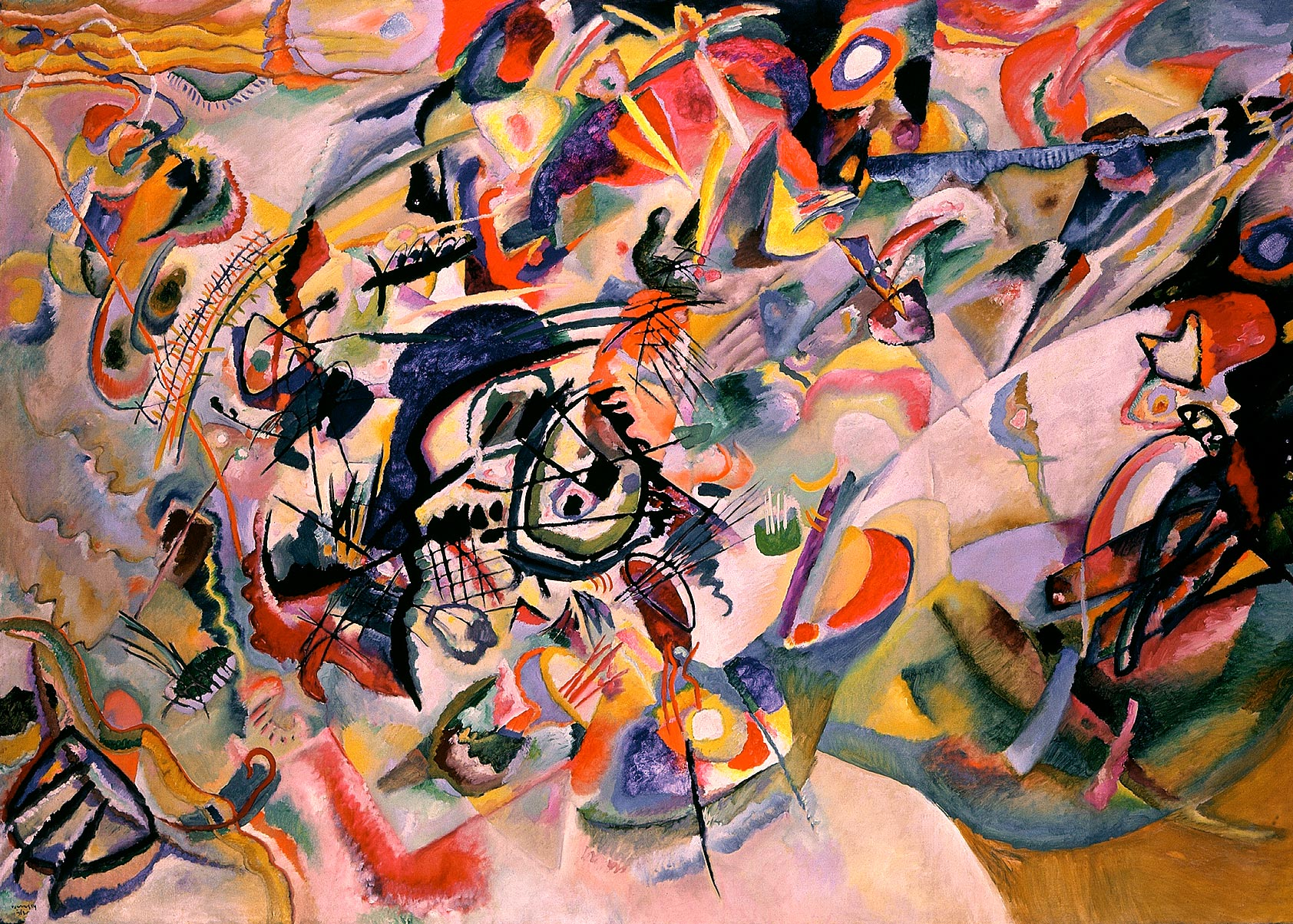 Painter Wassily Kandinsky. Painting. Composition VII. 1913 year