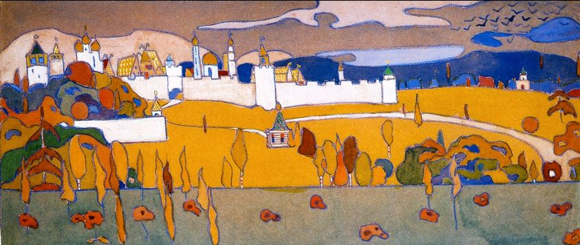 Walled City in Autumn Landscape (1902)  by Wassily Kandinsky