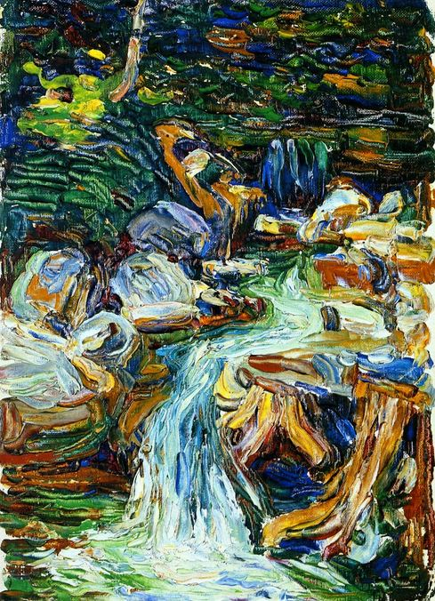 Painter Wassily Kandinsky. Painting. Kochel - Waterfall II. 1902 year