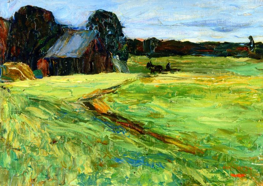 Vasilkevskoe - Barn with Pony (1903)  by Wassily Kandinsky