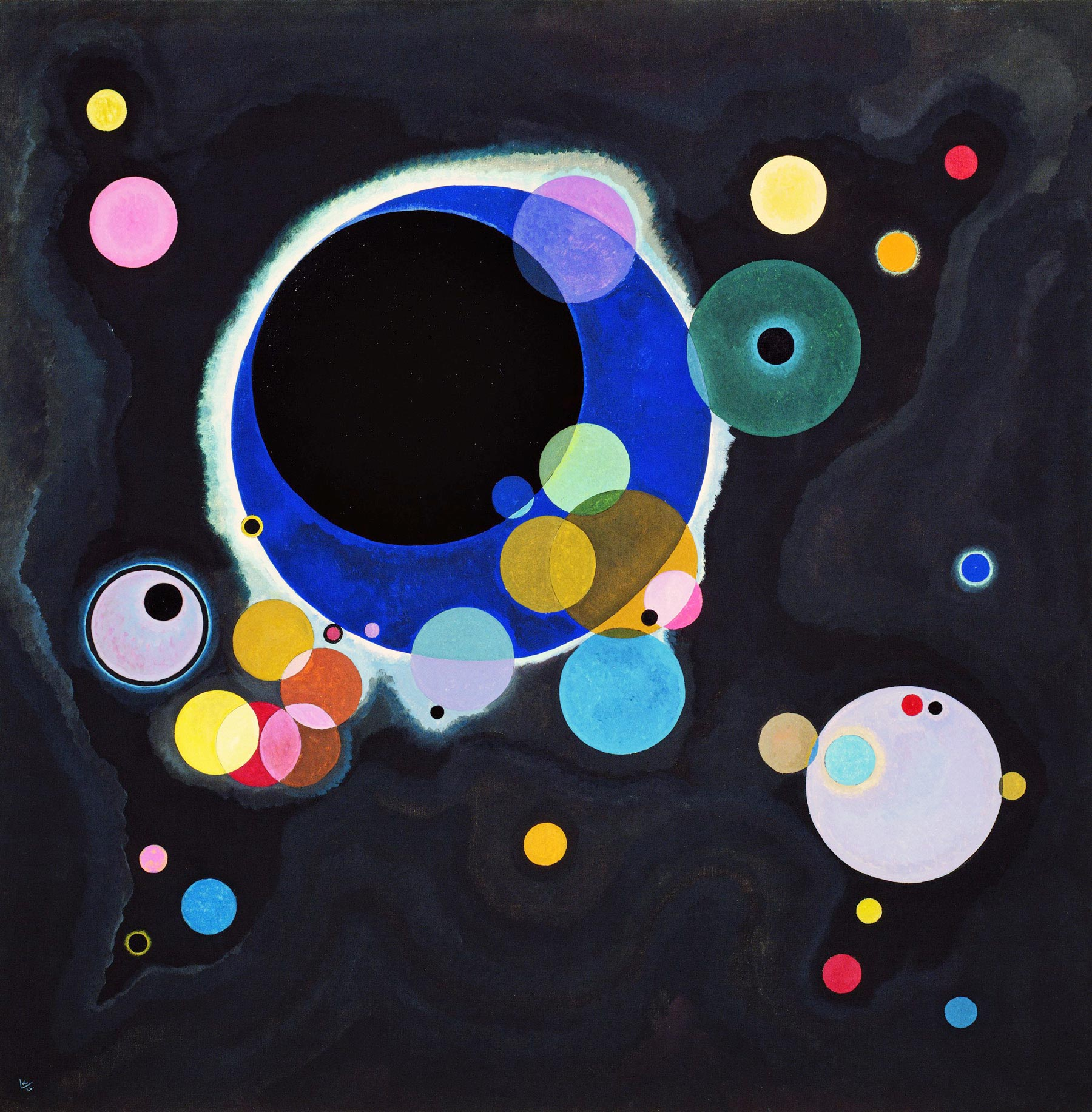 Painter Wassily Kandinsky. Painting. Several Circles. 1926 year
