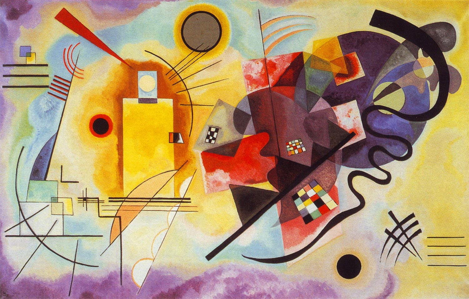 Painter Wassily Kandinsky. Painting. Yellow-Red-Blue. 1925 year