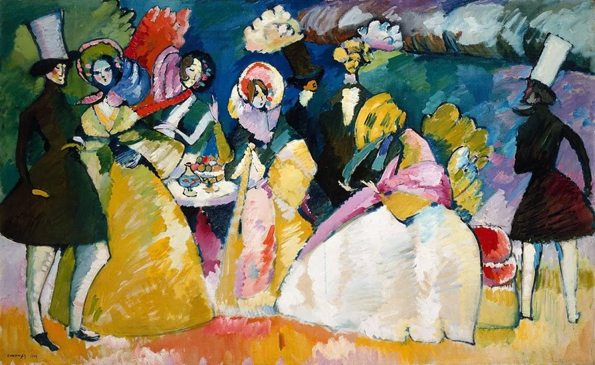 Group in Crinolines (1909)  by Wassily Kandinsky