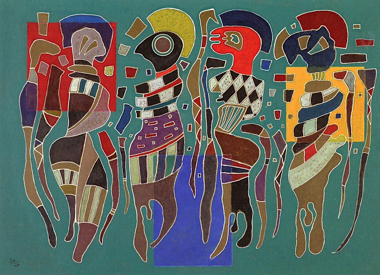 Four figures on three squares (1943)  by Wassily Kandinsky