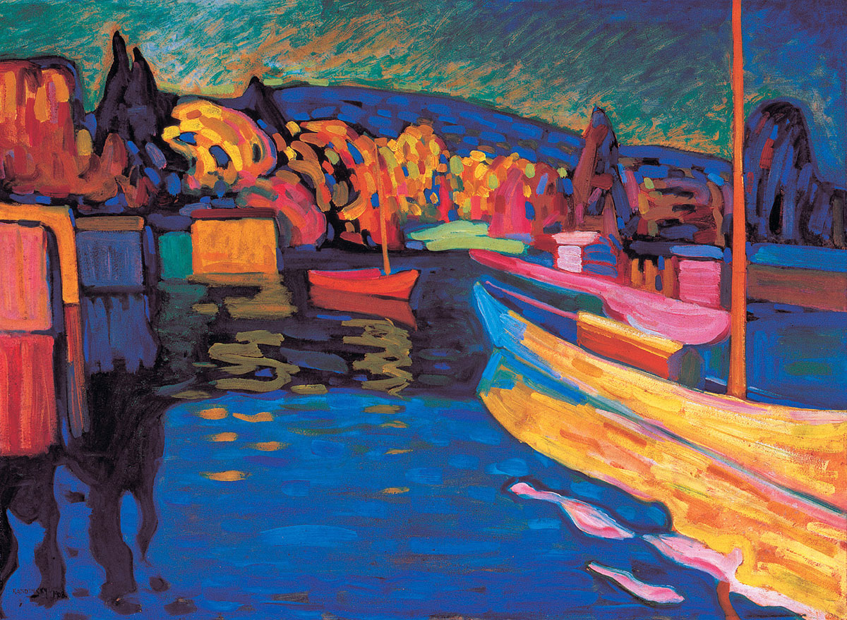 Painter Wassily Kandinsky. Autumn Landscape with Boats. 1908