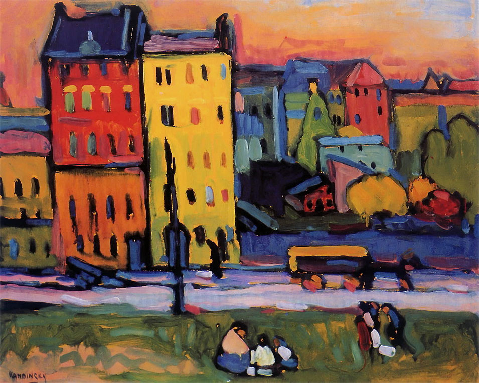 Houses in Munich (1908)  by Wassily Kandinsky