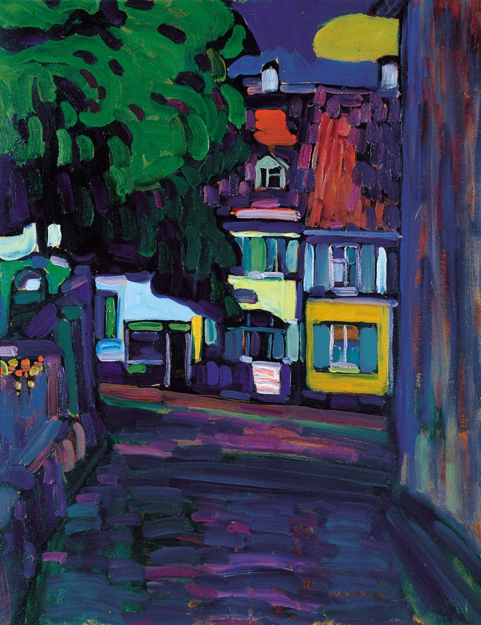 Painter Wassily Kandinsky. Painting. Houses in Murnau on Obermarkt. 1908 year