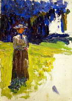 Wassily Kandinsky. Kochel - Lady Standing by the Forest's Edge, 1902