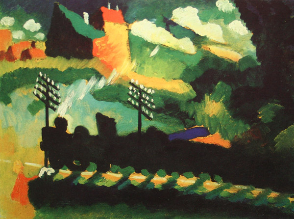 Murnau View With Railway And Castle (1909)  by Wassily Kandinsky