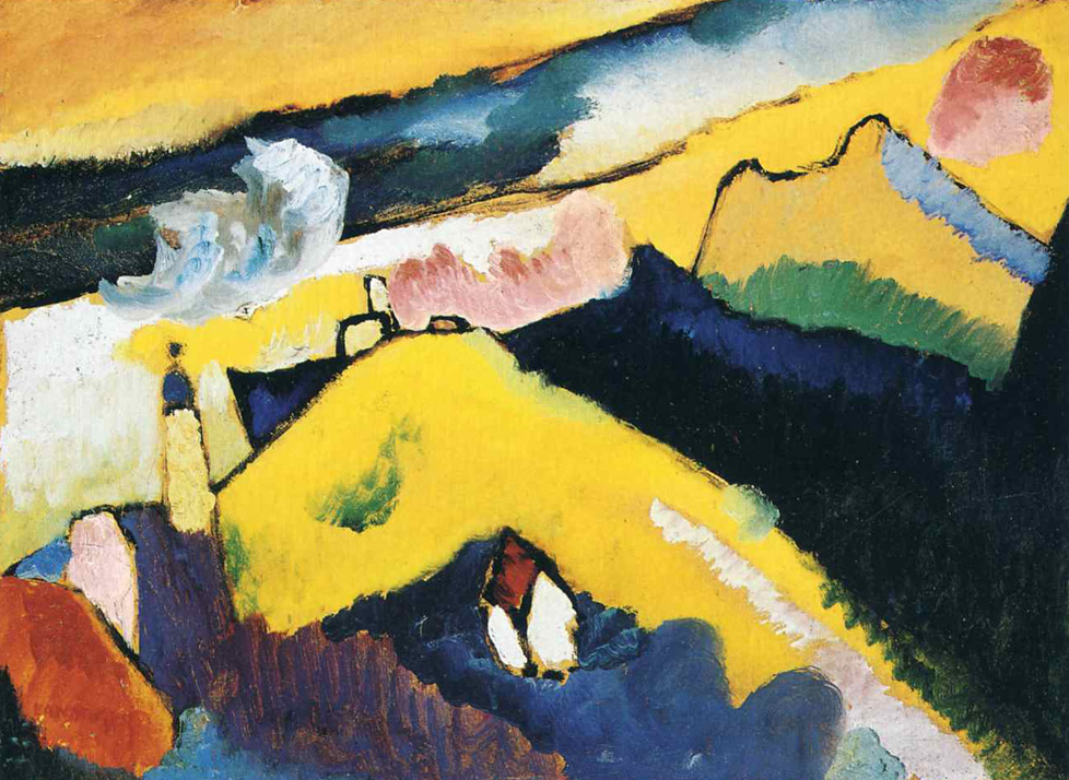 Mountain landscape with church (1910)  by Wassily Kandinsky