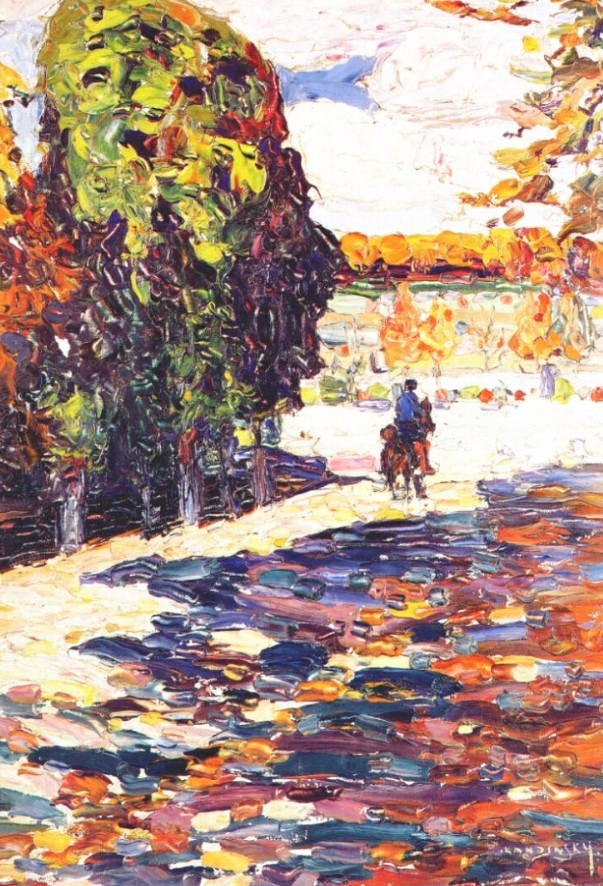 Park of St. Cloud with horseman (1906)  by Wassily Kandinsky