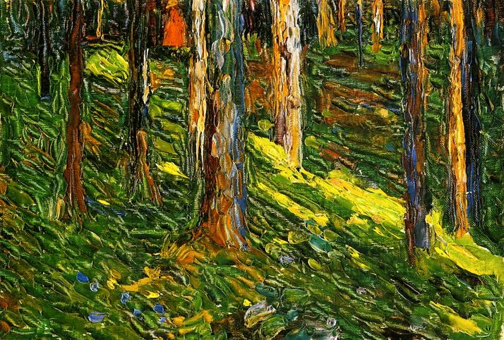 Forest Landscape with Red Figure (1902)  by Wassily Kandinsky