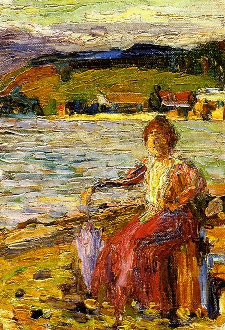 Kochel - Lady Seated by a Lakeside (1902)  by Wassily Kandinsky