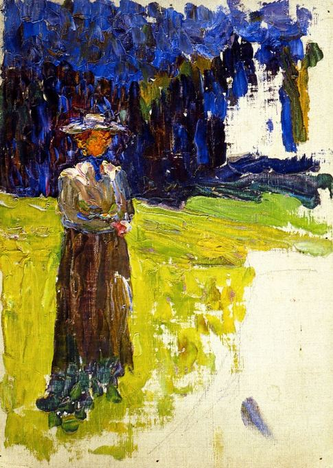 Kochel - Lady Standing by the Forest's Edge (1902)  by Wassily Kandinsky