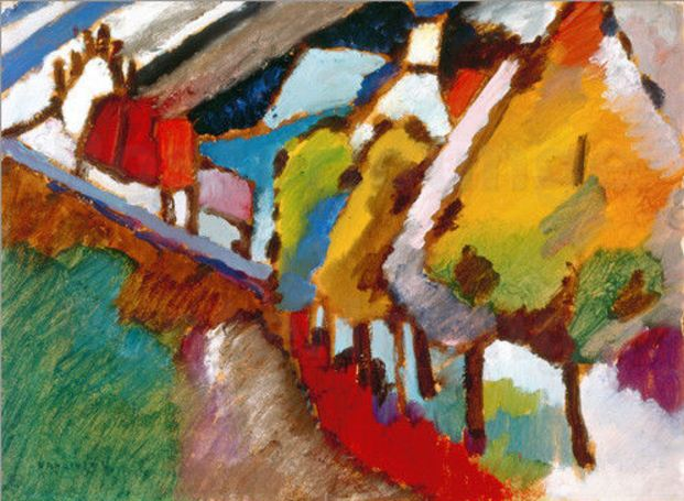 Murnau – Castle and Church (1909)  by Wassily Kandinsky