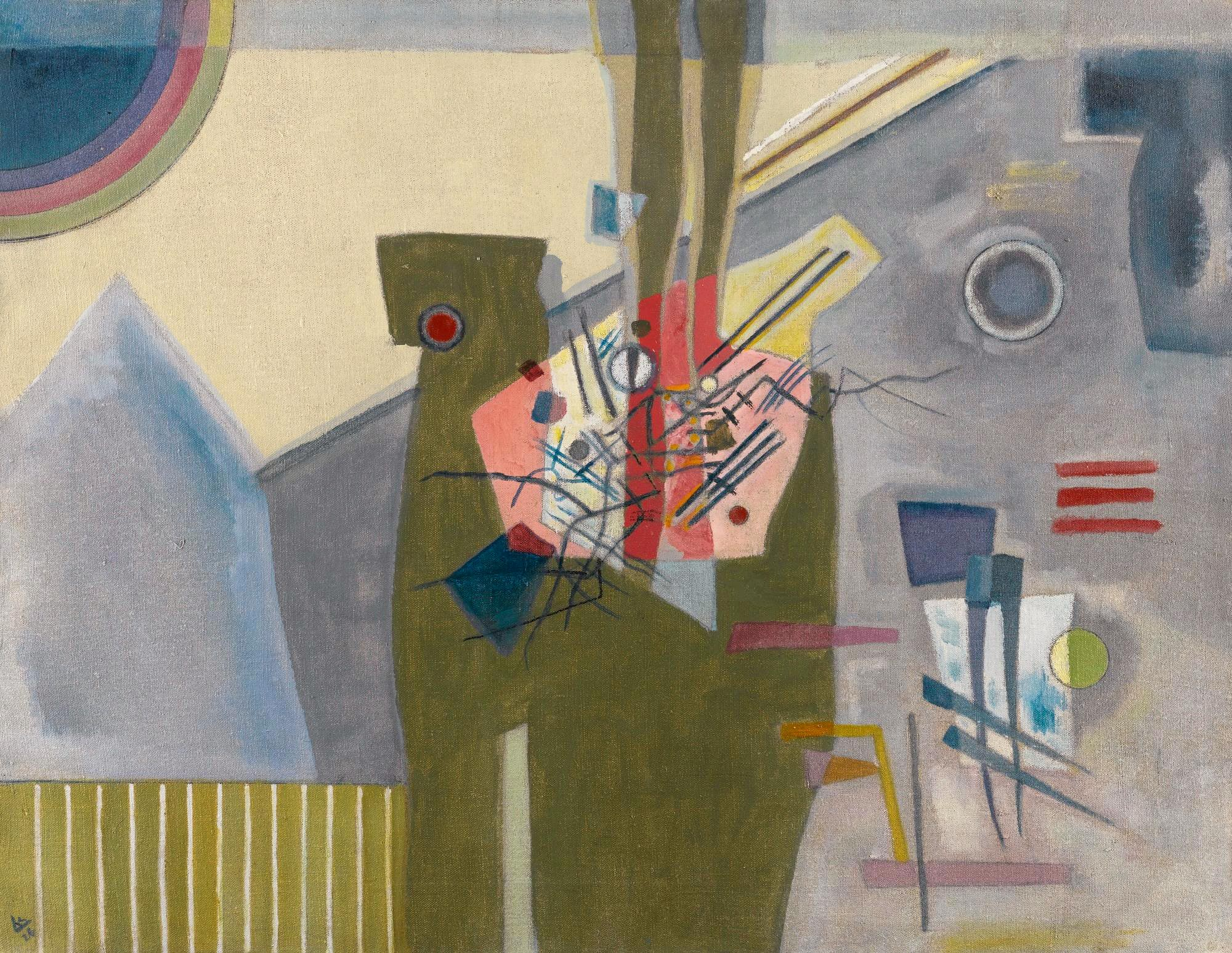 Pink in Gray (1926)  by Wassily Kandinsky