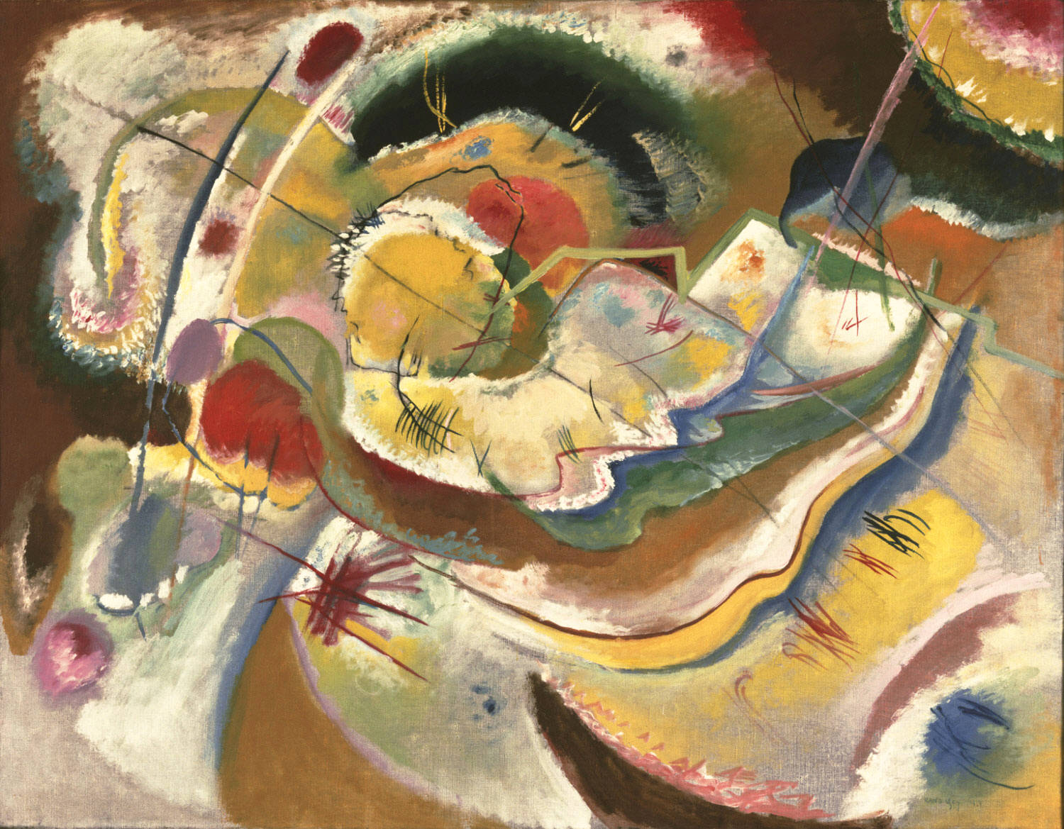 Little Painting with Yellow (1914)  by Wassily Kandinsky