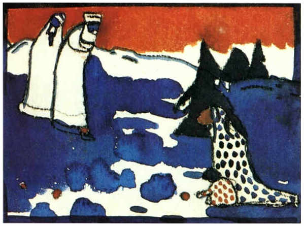 Figures and a Child in a Landscape (1909)  by Wassily Kandinsky