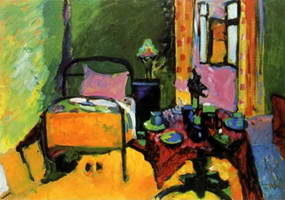 Bedroom in Aintmillerstrasse (1909 - 1910) by Wassily Kandinsky