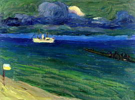 Seascape with Steamer (1906) by Wassily Kandinsky