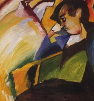 Lady (Portrait of Gabriele M}nter), (1910) by Wassily Kandinsky