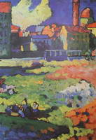 Munich-Schwabing With The Church Of St. Ursula (1908) by Wassily Kandinsky