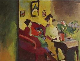 Interior. Gabriele Munter and Marianne von Werefkin (1910) by Wassily Kandinsky