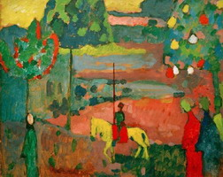 Lancer in Landscape (1908) by Wassily Kandinsky